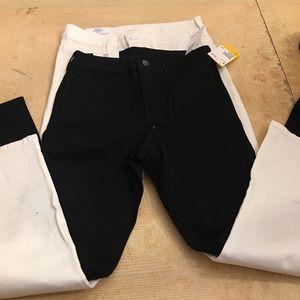 2 pairs H&M pants black/white skinny high waist